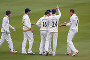 John Hastings (Durham County Cricket Club) celebrates with team mates after taking the wickwet of Lewis Gregory (Somerset County Cricket Club) during the LV County Championship Div 1 match between Durham County Cricket Club and Somerset County Cricket Club at the Emirates Durham ICG Ground, Chester-le-Street, United Kingdom on 8 June 2015. Photo by George Ledger.