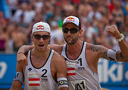 04.08.2011, Klagenfurt, Strandbad, AUT, Beachvolleyball World Tour Grand Slam 2011, im Bild Matthias Mellitzer, Clemens Doppler AUT, EXPA Pictures © 2011, PhotoCredit EXPA Gert Steinthaler