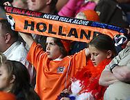 23-05-2008 VOETBAL:JONG ORANJE:JONG ZWITSERLAND:TILBURG<br /> Een jonge supporter met een HOLLAND sjaal<br /> Foto: Geert van Erven