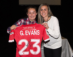 Bristol Academy centre-midfielder Georgia Evans presents a signed shirt to her sponsor Keri Goddard - Photo mandatory by-line: Paul Knight/JMP - Mobile: 07966 386802 - 11/10/2015 - Sport - Football - Bristol - Stoke Gifford Stadium - Bristol Academy WFC End of Season Awards 2015