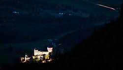 THEMENBILD - die beleuchtete Jakobskapelle und die Burg Kaprun in der Dämmerung, aufgenommen am 22. Juni 2017, Kaprun, Österreich // The illuminated Jakobschapel and Kaprun Castle at dusk in Kaprun, Austria on 2017/05/22. EXPA Pictures © 2017, PhotoCredit: EXPA/ JFK
