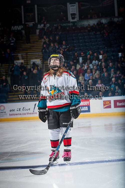 KELOWNA, CANADA - JANUARY 21: Pepsi Player, Kaitlyn Mallette stands on the blue line at the Kelowna Rockets against the Portland Winterhawks on January 21, 2017 at Prospera Place in Kelowna, British Columbia, Canada.  (Photo by Marissa Baecker/Shoot the Breeze)  *** Local Caption ***