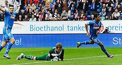 16.04.2011, Rhein-Neckar-Arena, Sinsheim, GER, 1. FBL, TSG 1899 Hoffenheim vs Eintracht Frankfurt, im Bild vl. Vedad Ibisevic (Hoffenheim BOS #19), Ralf Faehrmann (Frankfurt #22), Roberto Firmino (Hoffenheim #22), Torschuetze, EXPA Pictures © 2011, PhotoCredit: EXPA/ nph/  Roth       ****** out of GER / SWE / CRO  / BEL ******