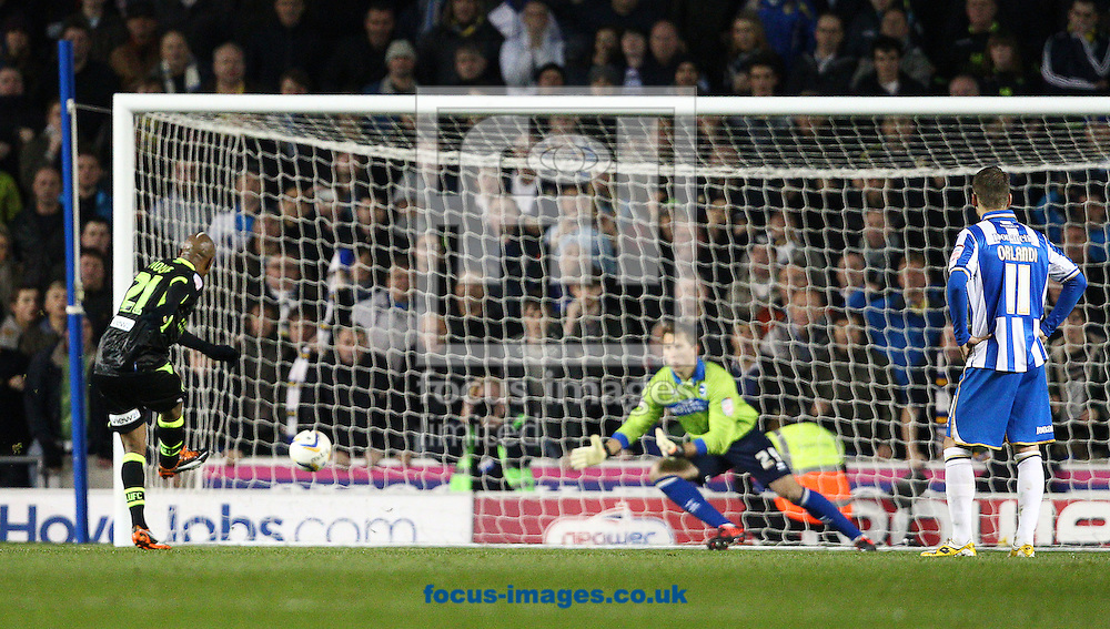 Picture by Paul Terry/Focus Images Ltd +44 7545 642257.02/11/2012.El-Hadji Diouf ( L ) of Leeds United scores from the penalty spot to make it 1-1 during the npower Championship match at the American Express Community Stadium, Brighton and Hove.
