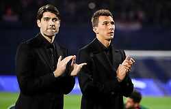 Vedran Corluka and Mario Mandzukic prior to the UEFA Nations League football match between Croatia and Spain, on November 15, 2018, at the Maksimir Stadium in Zagreb, Croatia. Photo by Morgan Kristan / Sportida
