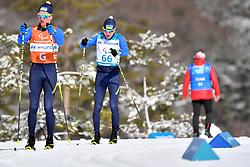 MAKHOTKIN Oleksandr UKR B3 Guide: NIKULIN Denys competing in the ParaSkiDeFond, Para Nordic 10km during the PyeongChang2018 Winter Paralympic Games, South Korea.