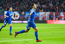 LEIPZIG, Feb. 26, 2019  Hoffenheim's Andrej Kramaric (R) celebrates during a German Bundesliga match between RB Leipzig and TSG 1899 Hoffenheim in Leipzig, Germany, on Feb. 25, 2019. The match ended in a 1-1 draw. (Credit Image: © Kevin Voigt/Xinhua via ZUMA Wire)