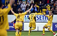 Fotball<br /> Tippeligaen<br /> Bodø/Glimt v Aalesund<br /> 26.07.2015<br /> Foto: Kent Even Grundstad/Digitalsport<br /> <br /> BG jubler for 1:0<br /> Trond Olsen (R)<br /> Papa Alioune Ndiaye / Badou (7)