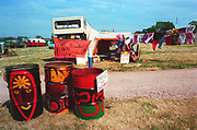 Colorful bins, at Glastonbury, 1989.
