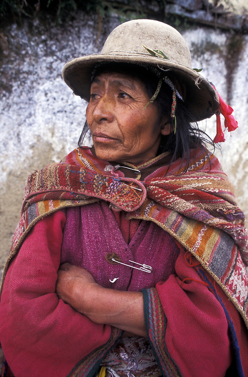 BOLIVIA: Curva.A Kallawaya Indian woman. The Kallawayas are famed for their abilities as natural medicine men and women.