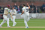 Wicket - Matt Milnes of Kent celebrates taking the wicket of Eddie Byrom of Somerset during the Specsavers County Champ Div 1 match between Somerset County Cricket Club and Kent County Cricket Club at the Cooper Associates County Ground, Taunton, United Kingdom on 7 April 2019.