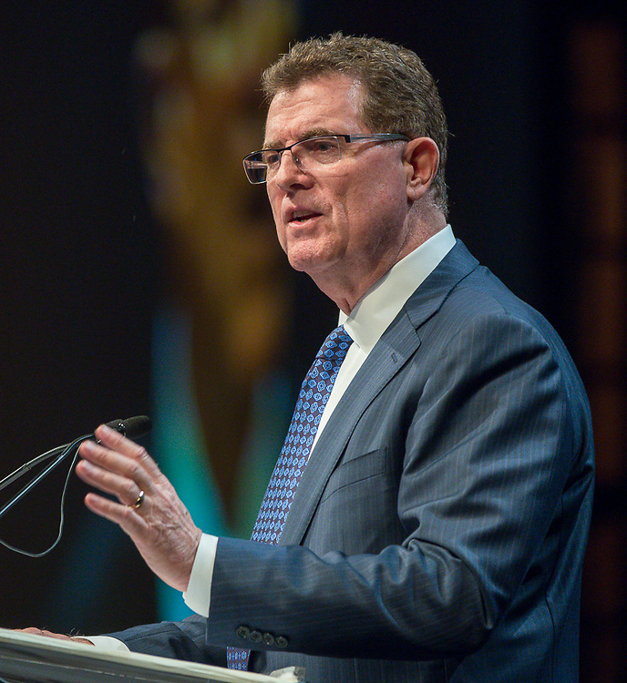 Superintendent Dr. Terry Grier delivers his address during the Houston ISD State of the Schools luncheon at the Hilton of the Americas, February 26, 2014.