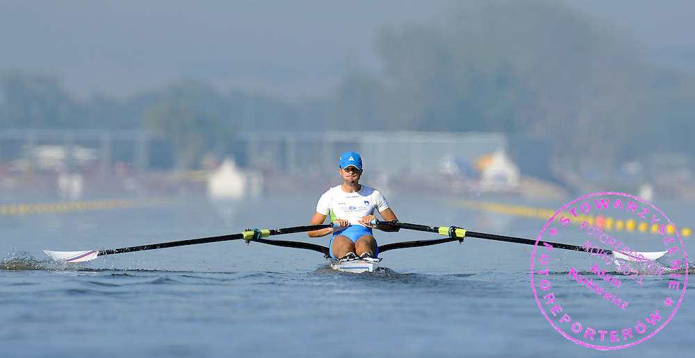 RAJKO HRVAY (SLOVENIA) COMPETES IN MEN'S LIGHTWEIGHT SINGLE SCULLS DURING REGATTA EUROPEAN ROWING CHAMPIONSHIPS IN MONTEMOR-O-VELHO, PORTUGAL...PORTUGAL , MONTEMOR-O-VELHO , SEPTEMBER 10, 2010..( PHOTO BY ADAM NURKIEWICZ / MEDIASPORT ).