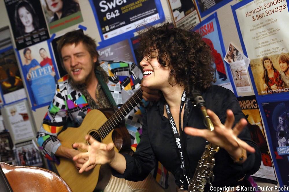 Anna Horton (rt) and Joel Ledford (left) from Handmade Moments  at the Folk Alliance Conference in Kansas City, Missouri Feb 17-19, 2017.