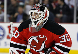 Feb 26, 2009; Newark, NJ, USA; New Jersey Devils goalie Martin Brodeur (30) during the third period at the Prudential Center. The Devils defeated the Avalanche 4-0and Brodeur recorded a shutout in his return to the Devils.