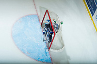 KELOWNA, CANADA - DECEMBER 30: Griffen Outhouse #30 of the Victoria Royals stands in net preparing for the shoot out against the Kelowna Rockets on December 30, 2017 at Prospera Place in Kelowna, British Columbia, Canada.  (Photo by Marissa Baecker/Shoot the Breeze)  *** Local Caption ***