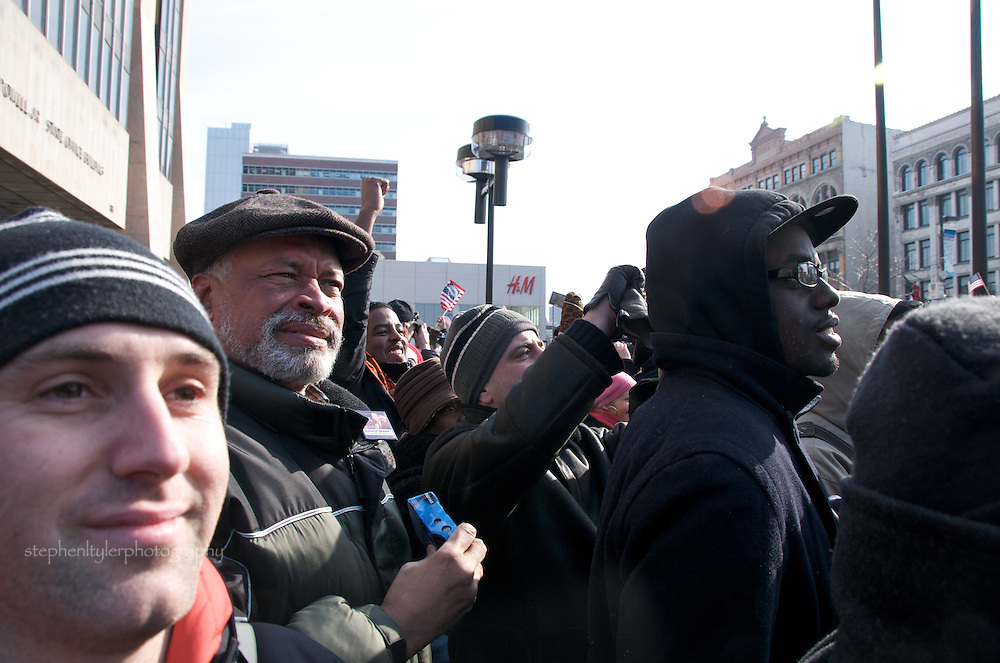 In Harlem, joyous crowds gathered for the  Inauguration of Barack Hussein Obama, the nation's 44th leader of the United States and first African American President, at the Adam Clayton Powell Jr. State Office Building and at Harlem's Apollo Theatre.