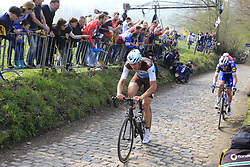 Stijn Vandenbergh (BEL) AG2R La Mondiale, Kasper Asgreen (DEN) Deceuninck-Quick Step and Sep Vanmarcke (BEL) EF Education First first to climb the Koppenberg during the 2019 Ronde Van Vlaanderen 270km from Antwerp to Oudenaarde, Belgium. 7th April 2019.<br /> Picture: Eoin Clarke | Cyclefile<br /> <br /> All photos usage must carry mandatory copyright credit (© Cyclefile | Eoin Clarke)