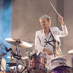 May 25, 2018 - Napa, California, U.S - DOMINIC HOWARD of Muse during BottleRock Music Festival at Napa Valley Expo in Napa, California (Credit Image: © Daniel DeSlover via ZUMA Wire)
