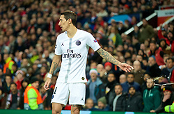 MANCHESTER, ENGLAND - Tuesday, February 12, 2019: Paris Saint-Germain's Ángel Di María  throws away a bottle of Heineken that was thrown at him onto the pitch by Manchester United supporters during the UEFA Champions League Round of 16 1st Leg match between Manchester United FC and Paris Saint-Germain at Old Trafford. (Pic by David Rawcliffe/Propaganda)