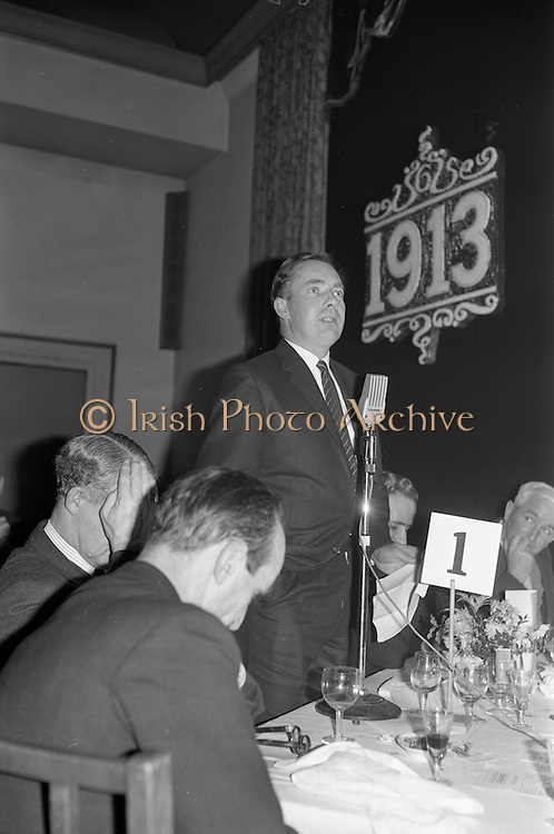 07/02/1963<br /> 02/07/1963<br /> 07 February 1963<br /> Brittain Dublin Ltd. Golden Jubilee reception and Dinner at the Hibernian Hotel, Dublin. Picture shows Mr. J.J. O'Hea of P.J. O'Hea and Co. Ltd., Cork, proposing the vote of thanks on behalf of the dealers to Messrs. Brittain.