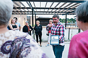 """Project Manager Bryant Moroder gives tours of the Garver Feed Mill to attendees at """"Garver Gourmet"""" hosted by Sitka Salmon Shares in Madison, Wisconsin, Saturday, Sept. 7, 2019."""
