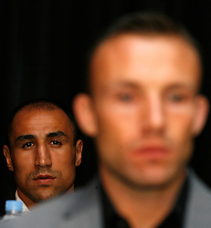 July 13, 2009; New York, NY, USA; Arthur Abraham looks over the shoulder of Mikkel Kessler at the press conference announcing the Super Six World Boxing Classic Tournament at Madison Square Garden in New York City.  Abraham will open the tournament against American Jermain Taylor.