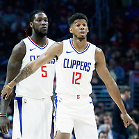 08 January 2018: LA Clippers forward Montrezl Harrell (5) is seen next to LA Clippers guard Tyrone Wallace (12) during the LA Clippers 108-107 victory over the Atlanta Hawks, at the Staples Center, Los Angeles, California, USA.