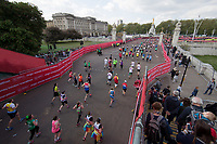 Runners from the mass event approach The Mall. The Virgin Money London Marathon, 23rd April 2017.<br /> <br /> Photo: Jed Leicester for Virgin Money London Marathon<br /> <br /> For further information: media@londonmarathonevents.co.uk