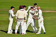 Wicket - Jack Leach of Somerset celebrates taking the wicket of Haseeb Hameed of Lancashire during the Specsavers County Champ Div 1 match between Somerset County Cricket Club and Lancashire County Cricket Club at the Cooper Associates County Ground, Taunton, United Kingdom on 14 September 2017. Photo by Graham Hunt.