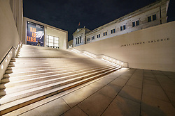 Night view of exterior of James Simon Galerie at Museum Island , Museumsinsel in Mitte Berlin, Germany, Architect David Chipperfield.