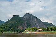 Image of the village of Pak Ou, on the Mekong River, across from the famous Pak Ou Caves, Laos.
