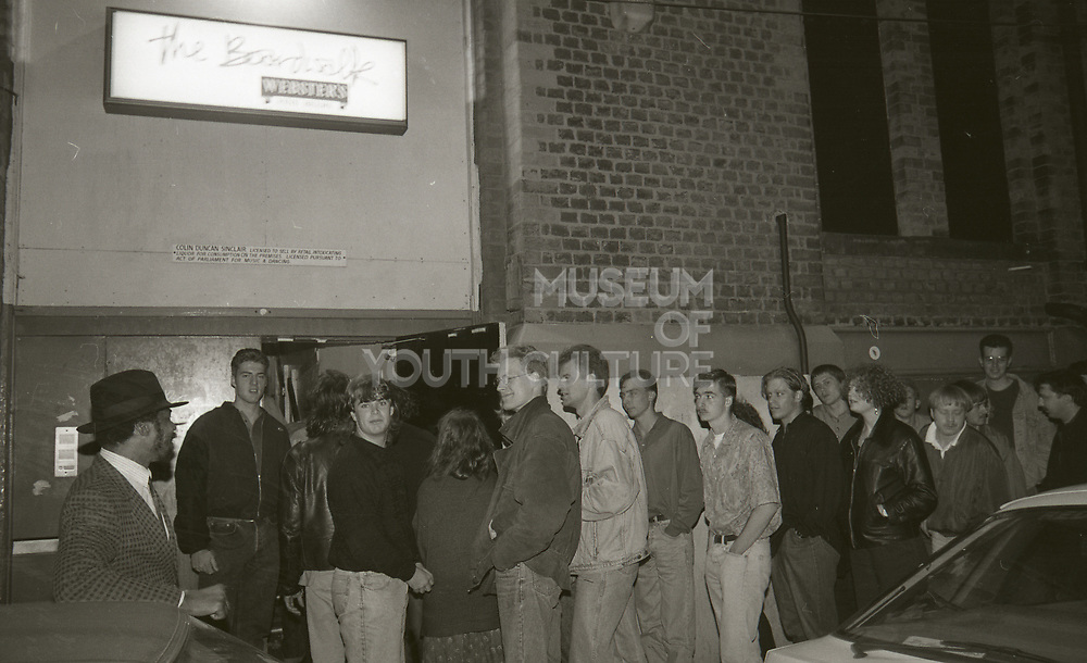 Crowd In Line, The Boardwalk, Manchester, October, 1991.