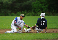 White Mountain's 17/Crane gets to second base just ahead of Adrian Siravo during NHIAA division III baseball Tuesday afternoon.   (Karen Bobotas/for the Laconia Daily Sun)