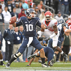 Oct 31, 2009; East Hartford, CT, USA; Connecticut quarterback Zach Frazer (10) makes a pass during second half Big East NCAA football action in Rutgers' 28-24 victory over Connecticut at Rentschler Field.