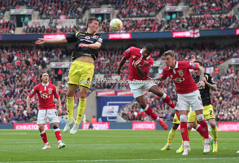22 March 2015 - Johnstones Paint Trophy Final - Bristol City v Walsall - Paul Downing of Walsall misses the header from the corner.<br /> <br /> Photo: Ryan Smyth/Offside