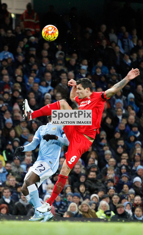Dejan Lovren clears the ball away during Manchester City vs Liverpool, Barclays Premier League, Saturday 21st November 2015, Etihad Stadium, Manchester