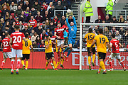 John Ruddy (21) of Wolverhampton Wanderers leaps up to claim the ball during the The FA Cup 5th round match between Bristol City and Wolverhampton Wanderers at Ashton Gate, Bristol, England on 17 February 2019.