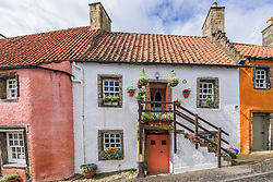 Exterior view of traditional old house Culross in Fife Scotland
