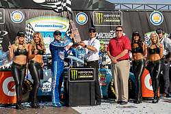 August 12, 2018 - Brooklyn, MI, U.S. - BROOKLYN, MI - AUGUST 12: Monster Energy NASCAR Cup Series driver Kevin Harvick (4) hoists the trophy after winning Monster Energy NASCAR Cup Series Consumers Energy 400 at Michigan International Speedway on August 12, 2018 in Brooklyn, Michigan.(Photo by Adam Lacy/Icon Sportswire) (Credit Image: © Adam Lacy/Icon SMI via ZUMA Press)