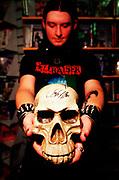 """Cradle Of Filth"" band member posing with skull, UK 2000's"
