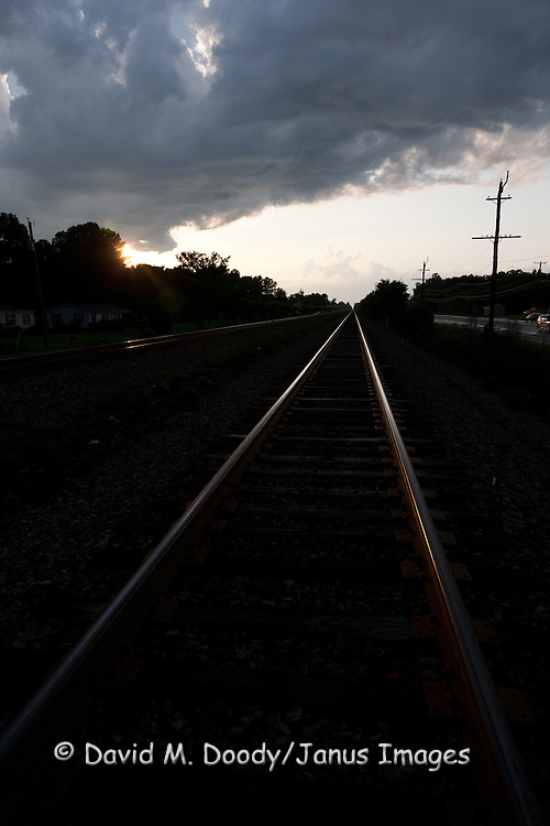 Railroad and storm clouds at sunset. Waverly, Virginia along Rt. 460, South of the James.