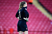 Liverpool women goalkeeper Anke Preuss (1) after fumbling the shot that gave Everton Women the lead 0-1 during the FA Women's Super League match between Liverpool Women and Everton Women at Anfield, Liverpool, England on 17 November 2019.
