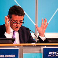 London, UK - 13 August 2012: LOCOG Chair, Sebastian Coe speaks during the final press conference of the Olympic Games to discuss the success of London 2012 with Mayor Boris Johnson.