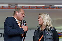 Morgane Gaultier talks about the UCI Women's WorldTour on stage at Boels Rental Ladies Tour Stage 5 a 141.8 km road race from Stamproy to Vaals, Netherlands on September 2, 2017. (Photo by Sean Robinson/Velofocus)