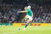 Ian Madigan of Ireland scoring a penalty during the Rugby World Cup Quarter Final match between Ireland and Argentina at Millennium Stadium, Cardiff, Wales on 18 October 2015. Photo by Shane Healey.