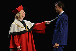 October 1, 2018 - Krakow, Poland - Dorota Segda, a Polish stage, film and television actress, and also the rector of the school, welcomes new students, during the 73rd inauguration of the academic year 2018/19 in the State Higher School of Theatre of Ludwik Solski in Krakow (Polish: Panstwowa Wyzsza Szkola Teatralna im. Ludwika Solskiego) .On Monday, October 1st, 2018, in Krakow, Poland. (Credit Image: © Artur Widak/NurPhoto/ZUMA Press)