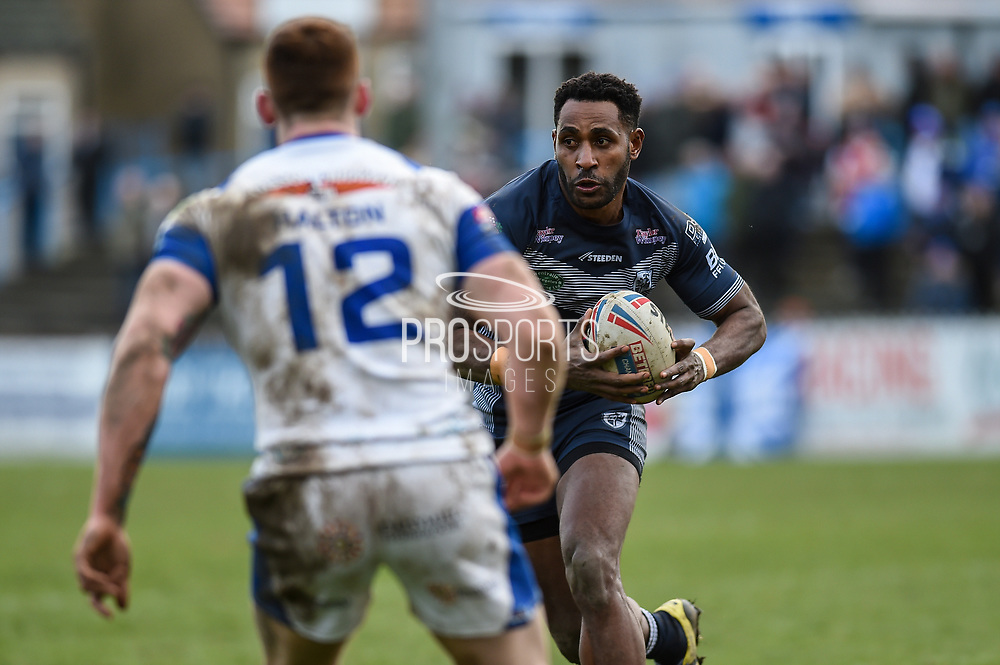 Wellington Albert (29) of Featherstone Rovers on the attack during the Betfred Championship match between Featherstone Rovers and Halifax RLFC at the Big Fellas Stadium, Featherstone, United Kingdom on 9 February 2020.