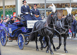The annual Lord Mayors Show takes place in the City of London. The procession from Mansion House to the Royal Courts of Justice marks the appointment of the new Lord Mayor. London, 10 November 2018.