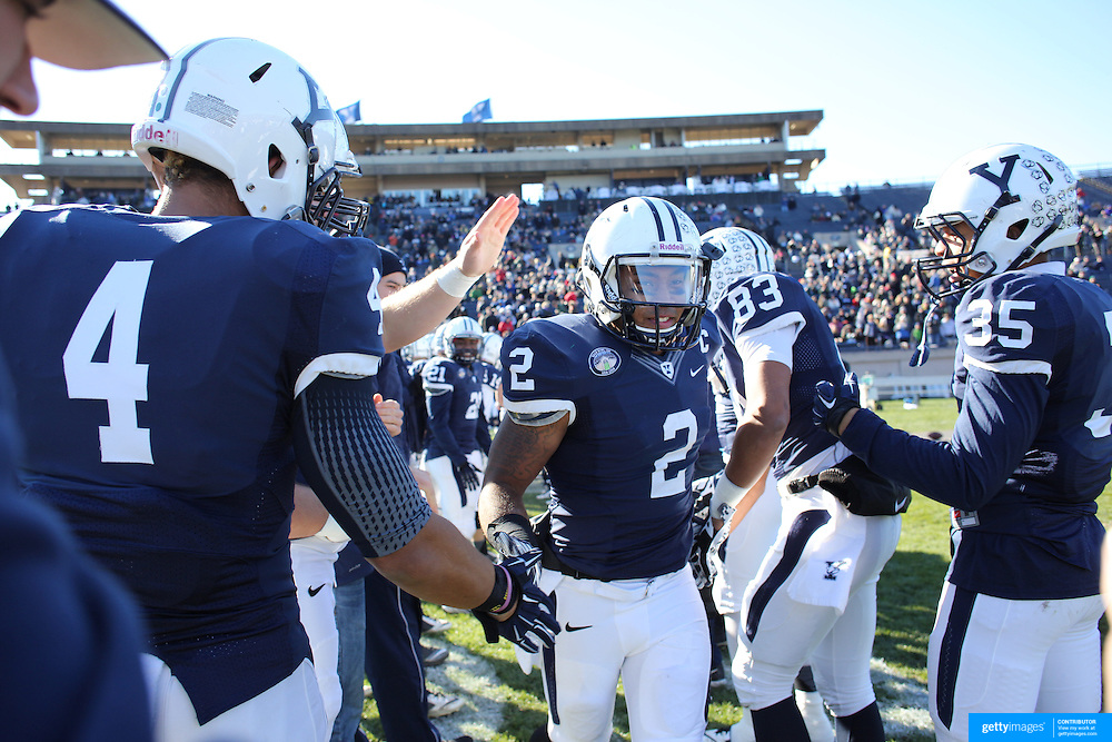 Yale player Deon Randall during the seniors presentation of players making their final appearance before the Yale Vs Princeton, Ivy League College Football match at Yale Bowl, New Haven, Connecticut, USA. 15th November 2014. Photo Tim Clayton